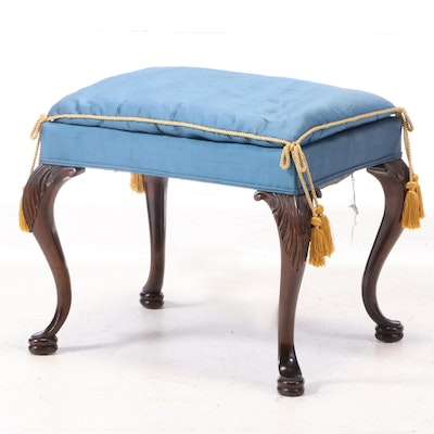 George II Style Mahogany Pillow Top Upholstered Stool