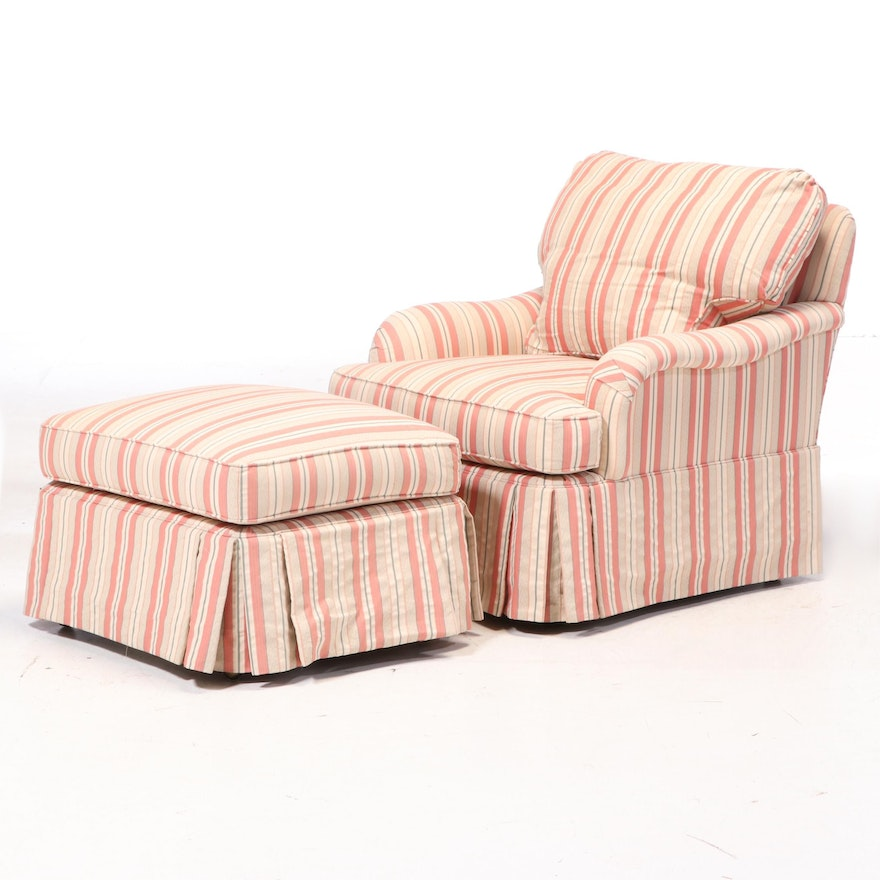 Pearson Upholstered Armchair and Ottoman, Late 20th Century