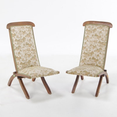 Pair of Upholstered High-Back Steamer Deck Chairs, Early 20th Century