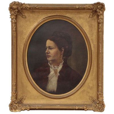 Portrait of a Woman in Lace Collar Oil Painting, Mid 19th Century
