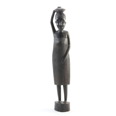 Vintage Carved African Female Sculpture