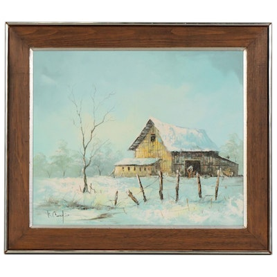 Impressionist Style Oil Painting Winter Barn Landscape, Late 20th Century