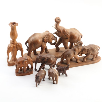 Collection of Carved Exotic Hardwood Elephants