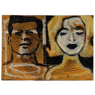 "T. Marie Nolan Folk Art Acrylic Painting ""John + Marilyn"", 2015"