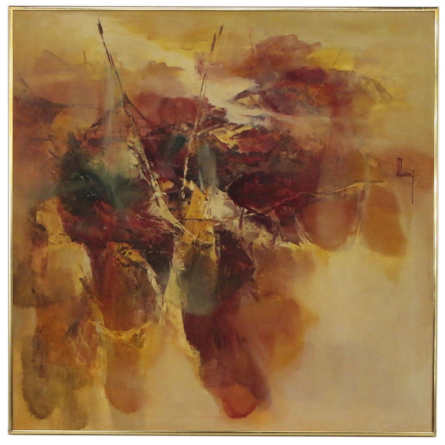 Non-Objective Abstract Oil Painting, 20th Century