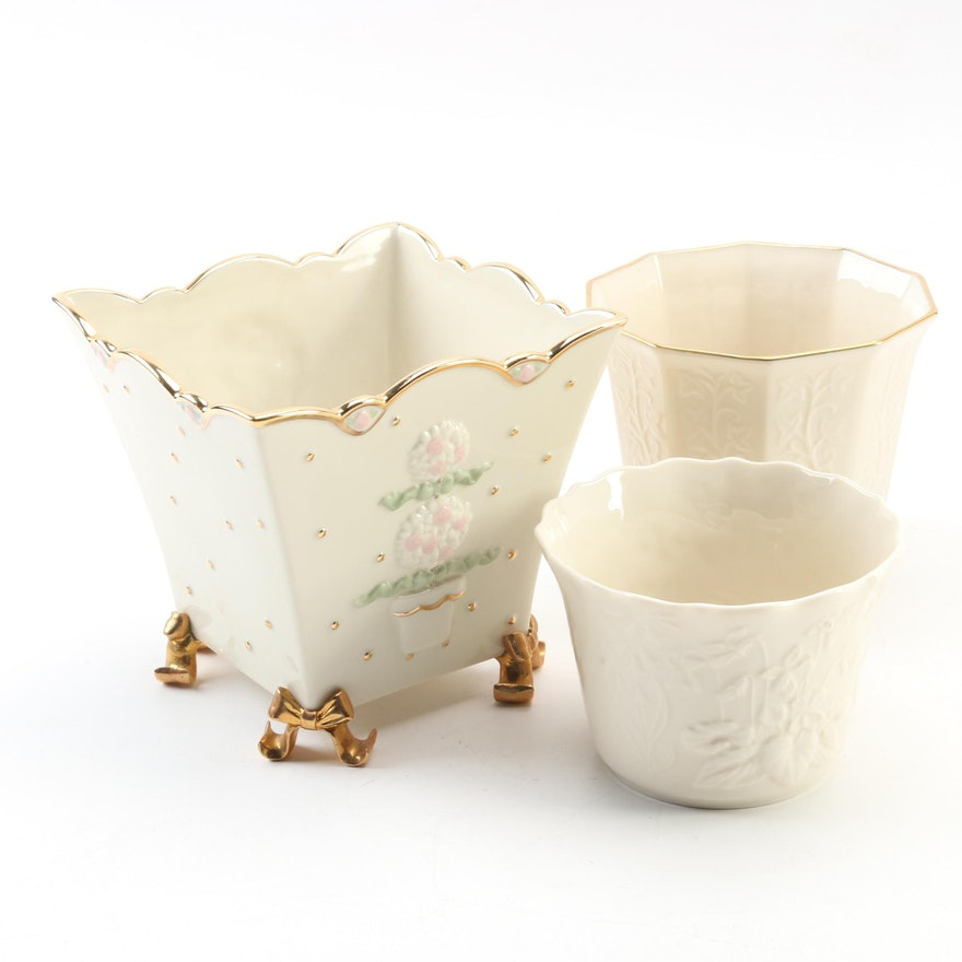 Lenox Gold Club Bone China Flowerpot with Other Lenox Planters