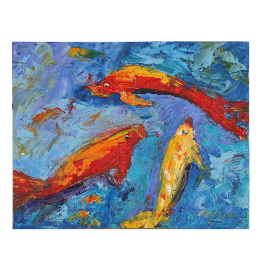 Claire McElveen Oil Painting of Koi Fish, 2014