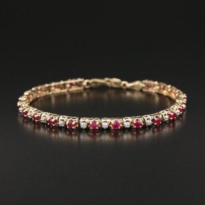 10K Ruby and Diamond Link Bracelet