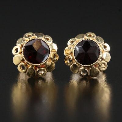 14K Garnet Stud Earrings with Scalloped Edge