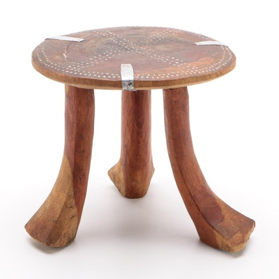African Carved Wood Three Legged Stool