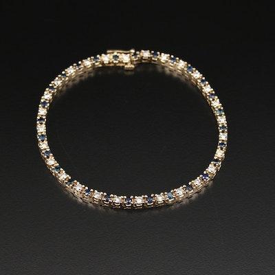 14K 1.25 CTW Diamond and Sapphire Bracelet