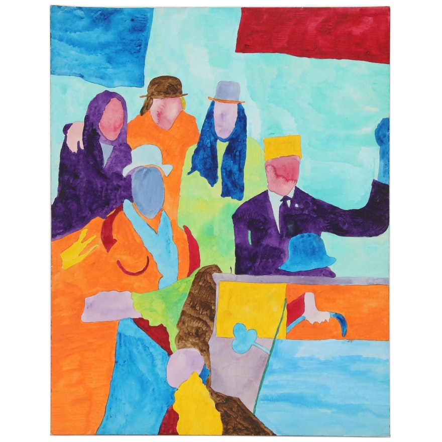 "Robert W. ""Hass"" Hasselhoff Figurative Mixed Media Painting"