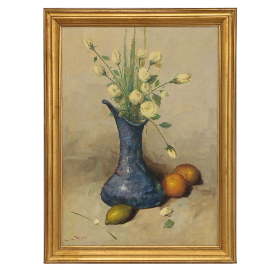 Sirio Oil Painting of Roses in Blue Vase with Fruit, 20th Century