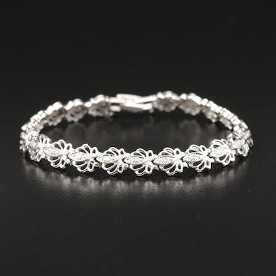 14K Diamond Floral Link Bracelet