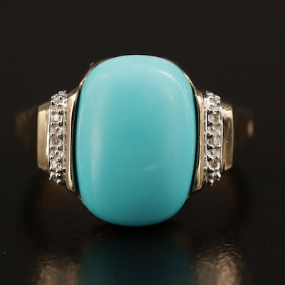 14K Turquoise and Diamond Ring