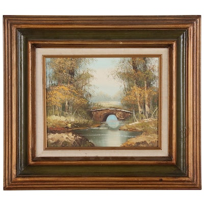 Landscape Oil Painting of Stream with Footbridge, 20th Century
