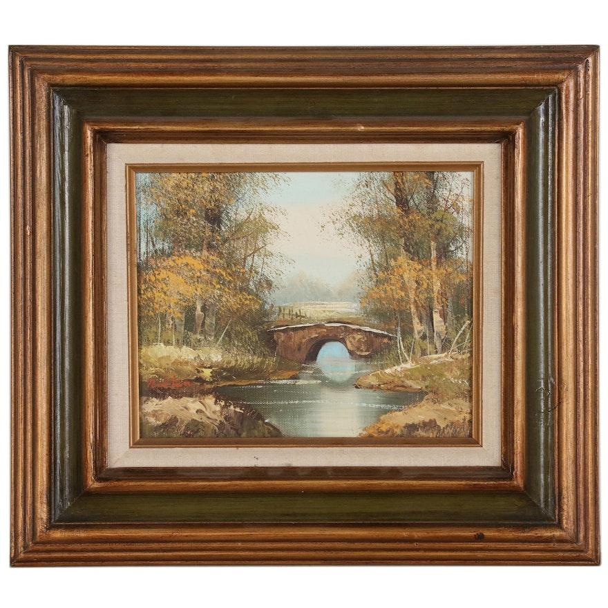 Landscape Oil Painting of Stream with Footbridge, 20th Century