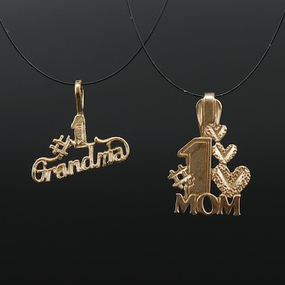 14K '#1 Mom' and '#1 Grandma' Pendants