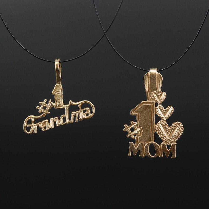 14K '#1 Mom' and '#1 Grandma' Pendants