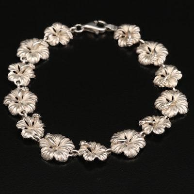 Sterling Silver Hibiscus Link Bracelet
