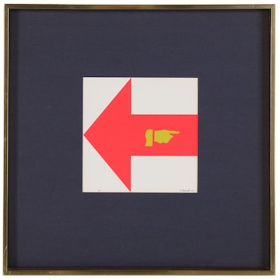 "Allan M D'Arcangelo Serigraph ""Red Arrow"", 1965"