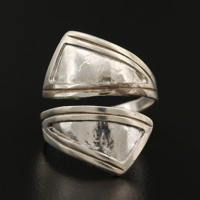 Sterling Silver Arrow Motif Bypass Ring