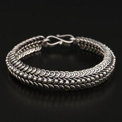 Sterling Silver Swirl Chain Bracelet