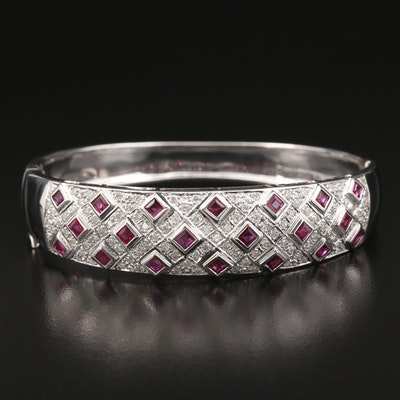 14K 1.05 CTW Diamond and Ruby Oval Hinged Bracelet
