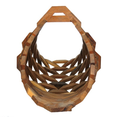 Mid Century Modern Wooden Geometric Basket