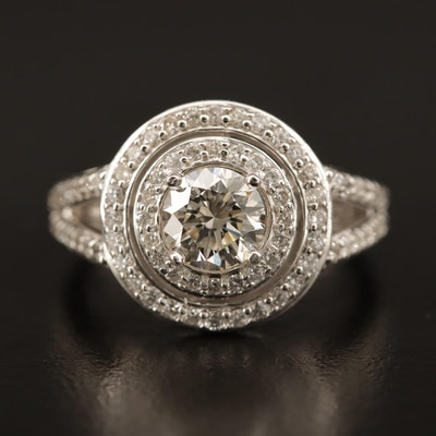14K 1.84 CTW Diamond Ring with Double Halo