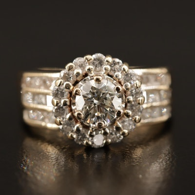 14K 1.37 CTW Diamond Ring with Halo and Channel Shoulders