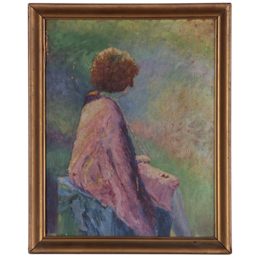 Impressionist Style Oil Paintings of Seated Women, 20th Century