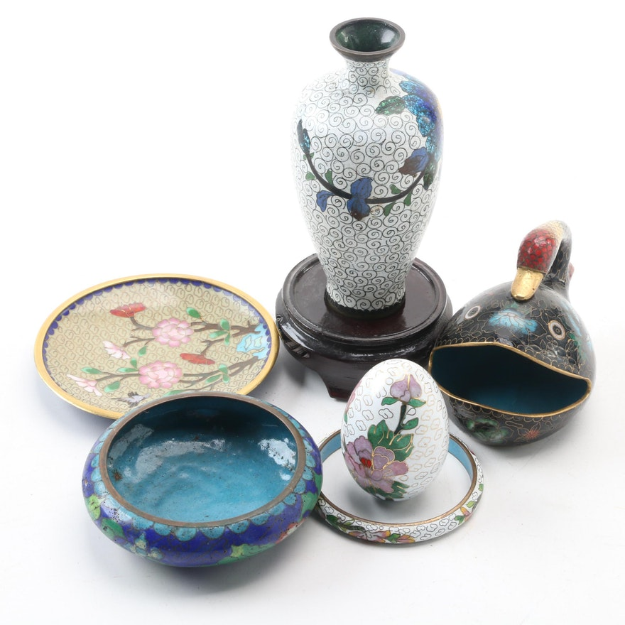Cloisonne Duck Trinket Dish and Other Decor, Early to Mid 20th Century