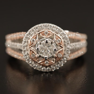 10K 1.15 CTW Diamond Ring with Star Design and Rose Gold Accents