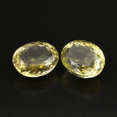 Matched Pair of Loose 59.48 CTW Citrines
