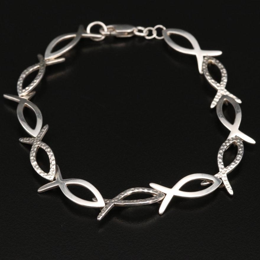 Sterling Silver Fish Motif Link Bracelet