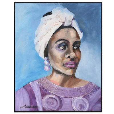 Acrylic Painting Portrait of Woman in Purple, Late 20th to 21st Century
