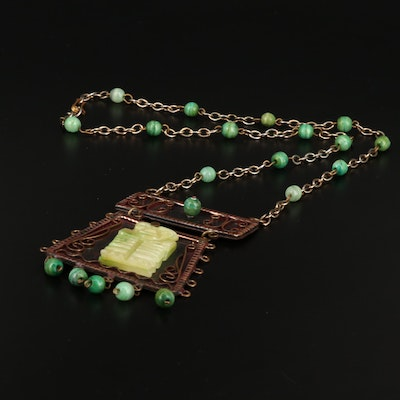 Calcite Mesoamerican Pendant Station Necklace
