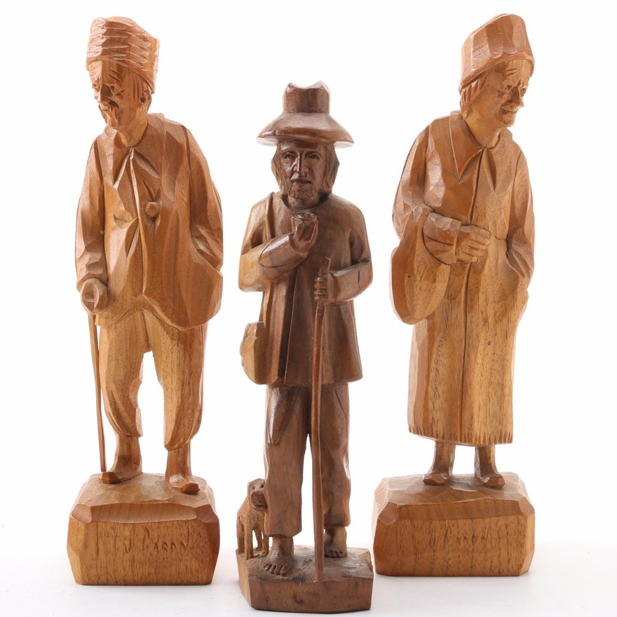 Paul Emile-Caron Hand-Carved Wooden Figurines, Mid-20th Century