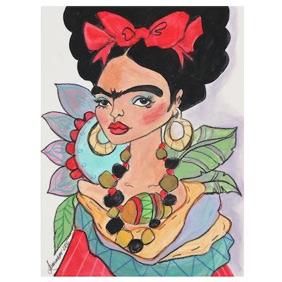 "Laurimar Alicea Mixed Media Painting ""Frida"", 2015"