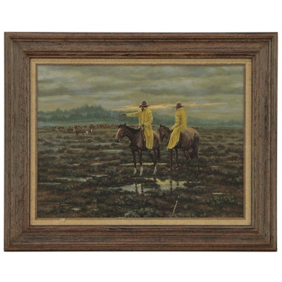 """Dave Paulley Oil Painting """"Working on a Wet Range"""", 1973"""