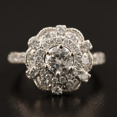10K and Platinum 1.95 CTW Diamond Cluster Ring