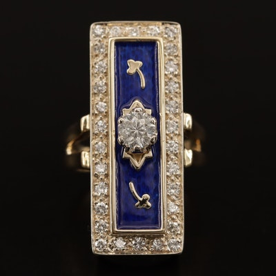 14K 1.00 CTW Diamond and Guilloché Enamel Rectangular Ring