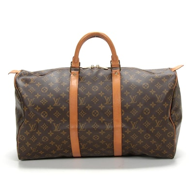 Louis Vuitton Keepall 50 Travel Duffel in Monogram Canvas and Vachetta Leather