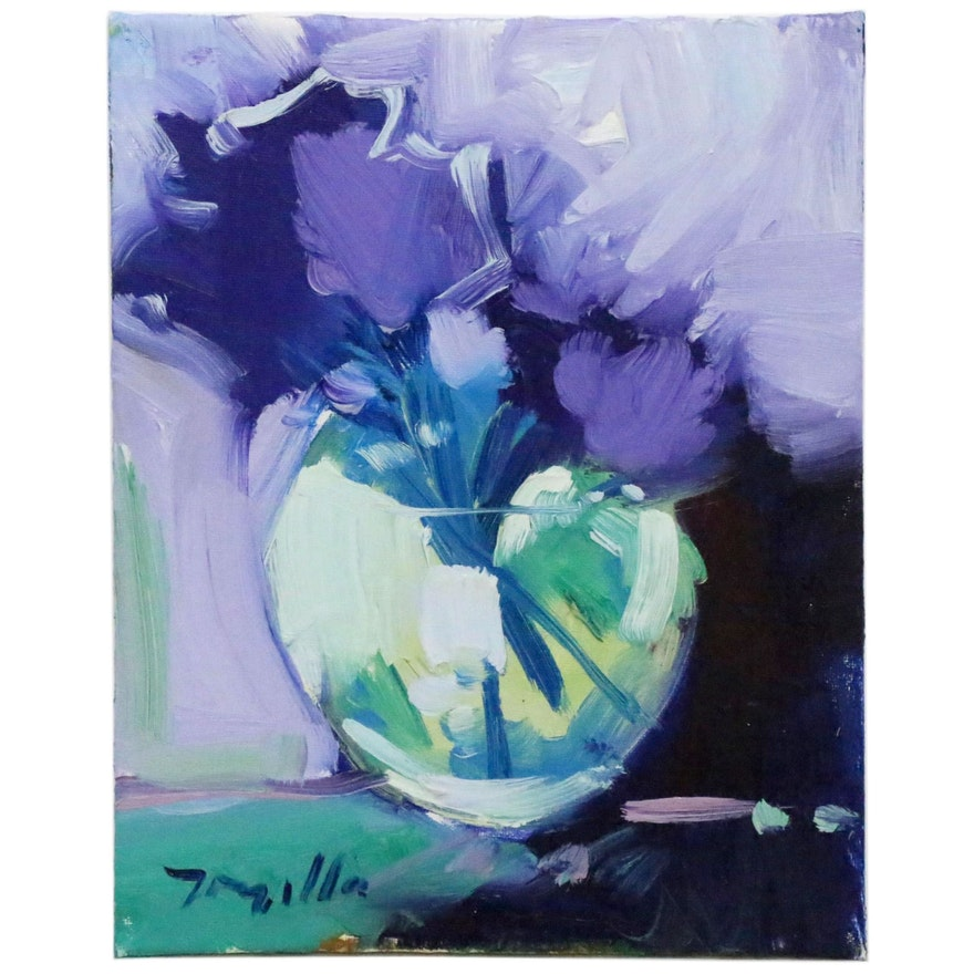"""Jose Trujillo Oil Painting """"Abstract Flowers"""", 2015"""