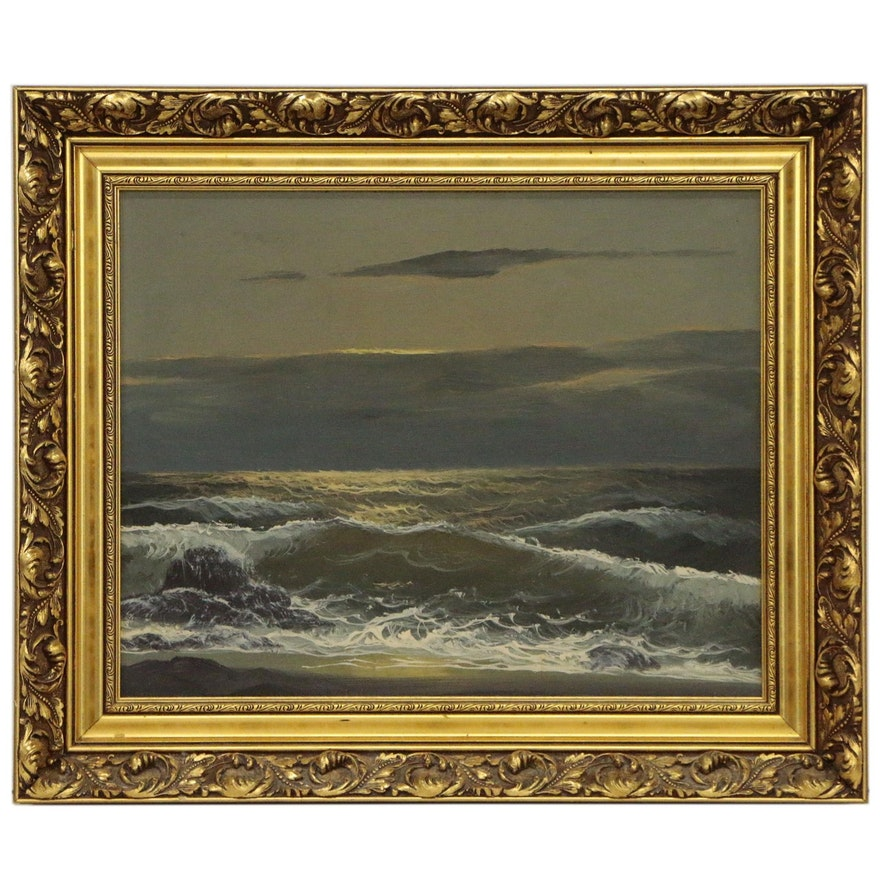 Seascape Oil Painting at Twilight, Mid to Late 20th Century