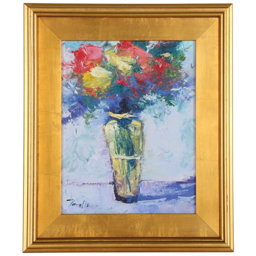 "Jose Trujillo Oil Painting ""The Yellow Vase"", 2015"