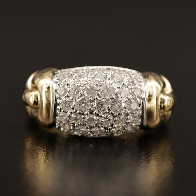 18K 1.00 CTW Diamond Domed Ring
