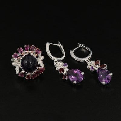 Sterling Silver Amethyst, Garnet and Rhodolite Garnet Ring and Earrings
