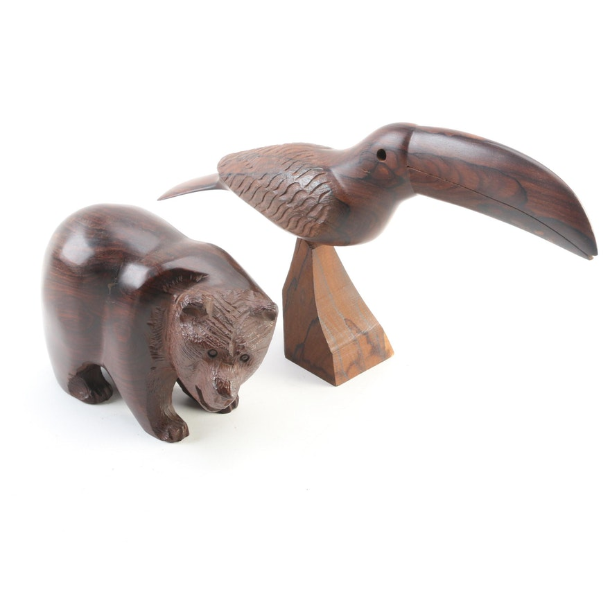 Hand-Carved Burl Wood Bear and Toucan Figurines, Late 20th Century